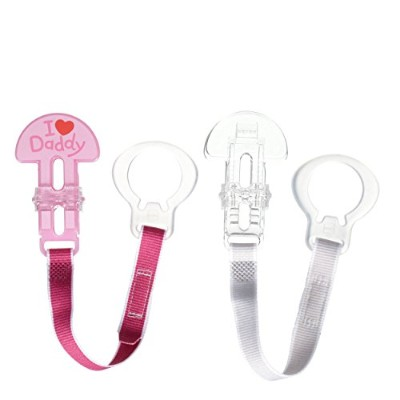 MAM Love & Affection Pacifier Clip, I Love Daddy, Girl, 2-Count by MAM