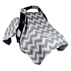 Bonafide Baby Car Seat Covers With Free Stroller Hook - Grey Chevron With Soft Plush Backing by...