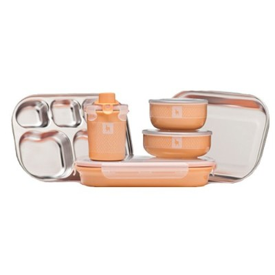 Kangovou Kids 9 Piece Dishware Set (Peaches and Cream) by Kangovou