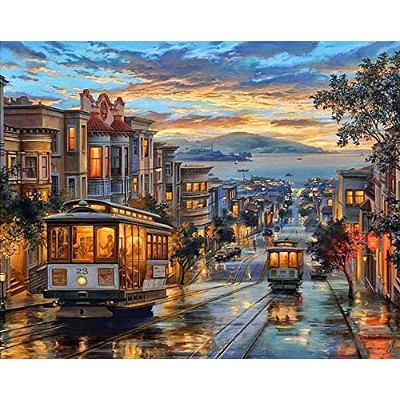 Diy Oil Painting Paint by Numbers Kit 16*20 inch Frameless (Street)