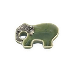 Elephant磁器Dipping Soy Sauce Dish in JadeグリーンCeladonカラーwith Pewter