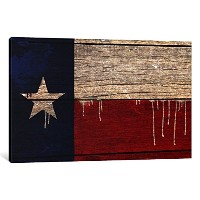 iCanvasART 1ピースTexas Flag木製厚板with Paint Dripsキャンバスプリントby Darklord、0.75by 18by 12-inch