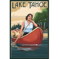 Lake Tahoe – Canoers on Lake 16 x 24 Giclee Print LANT-74725-16x24