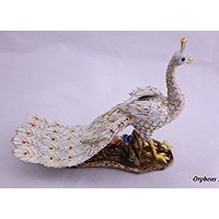 Feng Shui Peacock -Hand Crafted and Decorated Chinese Porcelain, Figurine 11032. (White)