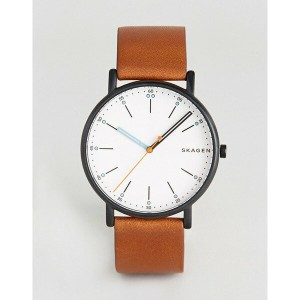 スカーゲン メンズ 腕時計 アクセサリー Skagen SKW6374 Signatur Leathere Watch In Brown Brown