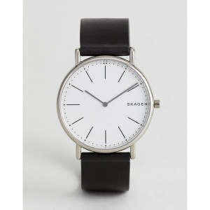 スカーゲン メンズ 腕時計 アクセサリー Skagen SKW6419 Signatur Slim Leather Watch In Black Black