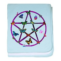 CafePress – Wiccan Star and Butterflies幼児毛布 – スーパーソフトベビー毛布、新生児おくるみ ブルー 047109929325CD2