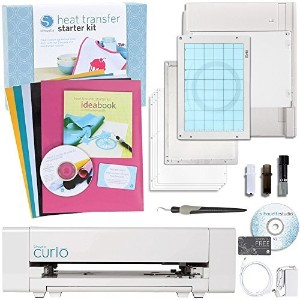 Silhouette America Curio Cabinet Digital Crafting Machine with Heat Transfer Starter Kit by...
