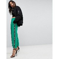 エイソス レディース カジュアルパンツ ボトムス ASOS Premium Scuba Wide Leg Joggers with Printed Side Tape Green
