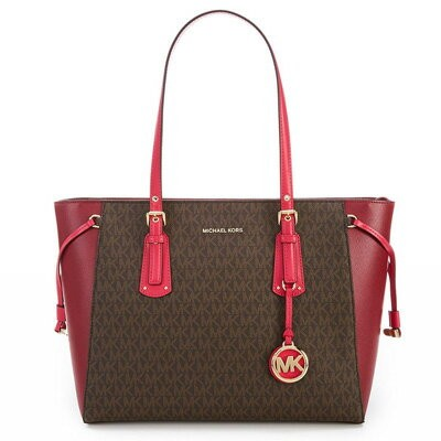 マイケルコース トートバッグ Michael Kors 30H7GV6T8BVoyager Medium Logo Tote (Brown/Mulberry/Ultra Pink) ミディアム ロゴ...