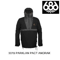 2015 686 シックスエイトシックス ジャケット PARKLAN PACT ANORAK BLACK HERRINGBONE DENIM COLORBLOCK