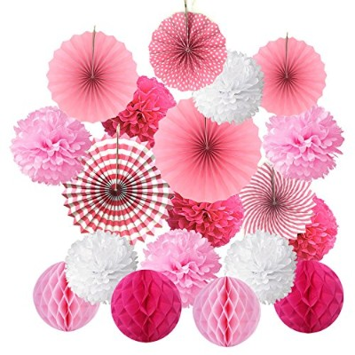 (Pink) - Hanging Paper Fan Set, Cocodeko Tissue Paper Pom Poms Flower Fan and Honeycomb Balls for...