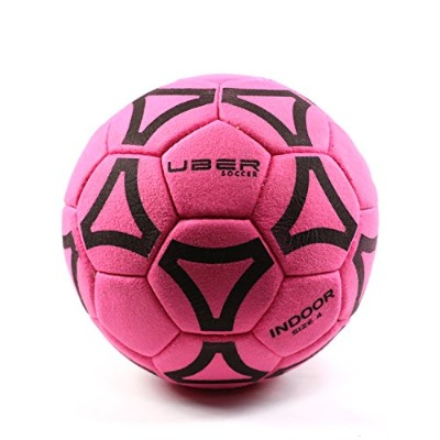 (4, Pink) - Uber Soccer Indoor Felt Soccer Ball - Sizes 3, 4, and 5 - Yellow, Orange, Pink or Green