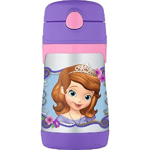 THERMOS Vacuum Insulated Stainless Steel 10-Ounce Straw Bottle, Sofia the First [並行輸入品]