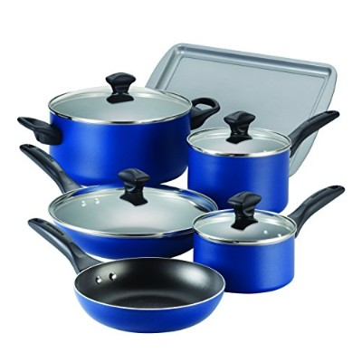 Farberware Dishwasher Safe Nonstick Aluminum 15-Piece Cookware Set, Blue by Farberware