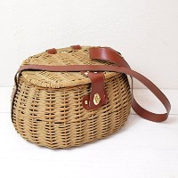 Willow fishing basket with simili leather strap ウィロー バスケット