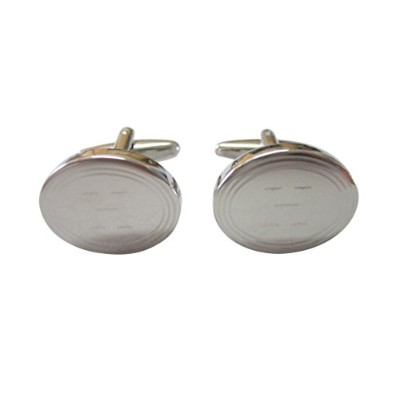 Silver Toned Etched OvalレターHモノグラムCufflinks