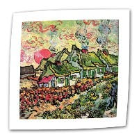 """Cottages ReminiscentのNorth by Vincent Van Goghフラット/ Rolledキャンバスアートwith 2インチAccent Border 18""""x24""""..."""