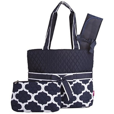 Quilted Diaper Bag with Changing Pad andアクセサリーケース–3ピース ブルー NPN2121-NAVY