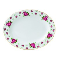 Royal Albert New Country RosesフォーマルヴィンテージOval Platter、13インチ、ホワイト