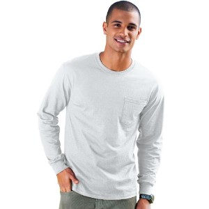 Hanes 5596 Men Tagless Long-Sleeve T-Shirt With Pocket Size Large, Ash Grey