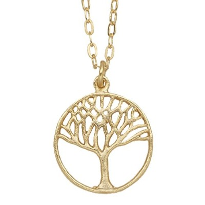Tree of Life円ペンダントネックレス( 24K金メッキ, Small ) by Mercedes Shaffer