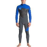 クイックシルバー メンズ サーフィン スポーツ 3/2 Syncro Series Back-Zip Flt Wetsuit - Men's Gun Metal/ Hv Royal/ White