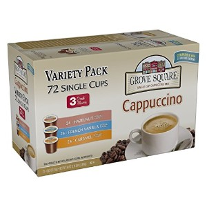 Grove Square Cappuccino Variety Pack, 72 Single Serve Cups by Grove Square Cappuccino
