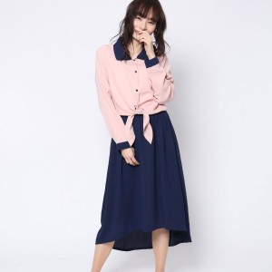 【SALE 68%OFF】ルーミィーズ  Roomy's OUTLET フロント結びシャツマキシOP (ボルドー)