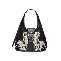 Gucci Dionysus embroidered large leather hobo - ブラック