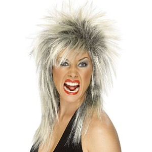 Smiffys Women's Blonde/Black Rock Diva Wig - One Size