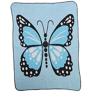 Green 3 Butterfly Kisses Throw Blanket, Blue by Green 3
