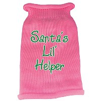 Santas Lil Helper Screen Print Knit Pet Sweater MD Pink