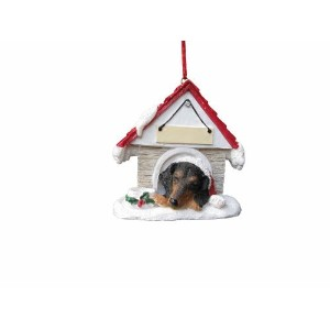 "High Quality d Black Doghouse ""Personalized"" Christmas Ornament"
