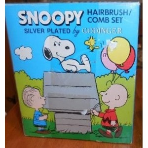Peanuts Baby Snoopy & Charlie Brown Silverplated First Hair Brush & Comb - Keepsake Hairbrush by...