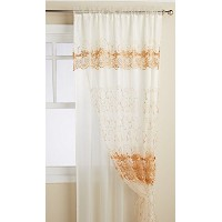 High Quality Bogota Embroidered Double Window Panel, 60 by 84-Inch, Beige