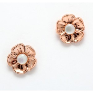 24K Rose Gold Plated Flower Shaped Stud Earrings from 善earl GemCollection Beautifully Created by...