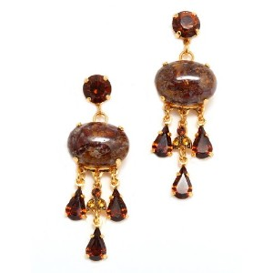 Topaz' Collection 24K Yellow Gold Plated Romantic Dangle Earrings by Amaro Jewelry Studio with Tear...