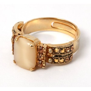 24K Yellow Gold Plated Adjustable Ring from 'Illumination' Collection by Israeli Amaro Jewelry...