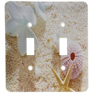 High Quality lsp_179449_2 Image of Flower and Seashell in Pastel Color on White Beach Light Switch...