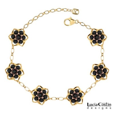 Star Shaped Flower Bracelet by Lucia Costin with Black Swarovski Crystals, Embellished with Twisted...