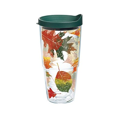 High Quality Fall Leaves Tumbler with Travel Lid, 24 oz, Clear