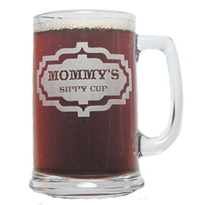 Mommy 's Sippy Cup 15oz。Beer Mug with Handle