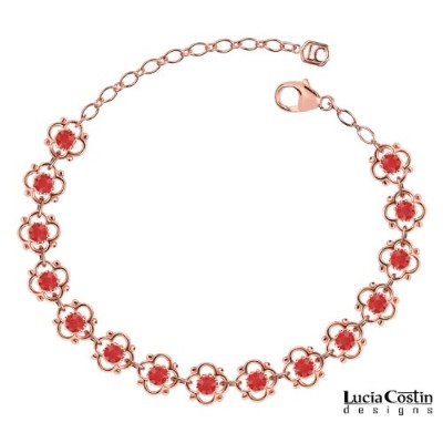 European Inspired Flower Bracelet Designed by Lucia Costin with 4 Petal Flowers, Dots and Red...
