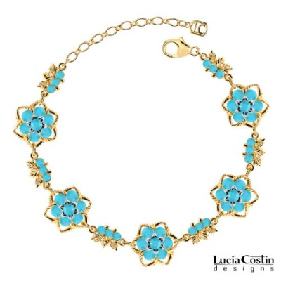 European Inspired Bracelet by Lucia Costin with Turquoise Swarovski Crystals and Leaf Elements,...