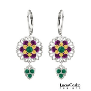 Lucia Costin Dangle Flower Earrings Made of .925 Sterling Silver and .925 Sterling Silver Plated...