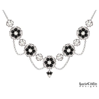 Victorian Style Lucia Costin Multi Flower Necklace Made of .925 Sterling Silver with White and...