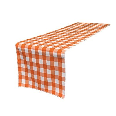 High Quality Poly Checkered Table Runner, 14 by 108-Inch, Orange/White