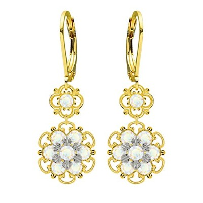 Lucia Costin Silver, White Swarovski Crystal Earrings with Flowers