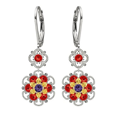 Lucia Costin Silver, Red, Violet Swarovski Crystal Earrings with Dots